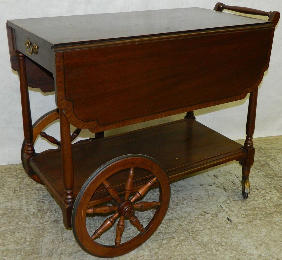 Inlaid Henkel Harris tea cart.