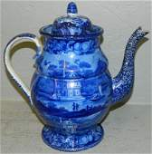 19th C dark blue transferware coffee pot.
