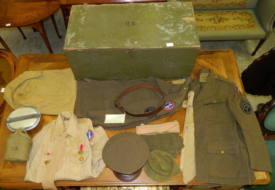Uniform, mess kit and foot locker.