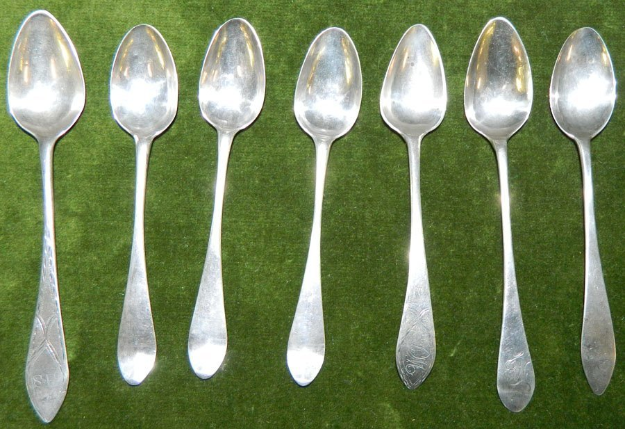 (7) Coin silver spoons. 2.14 troy oz