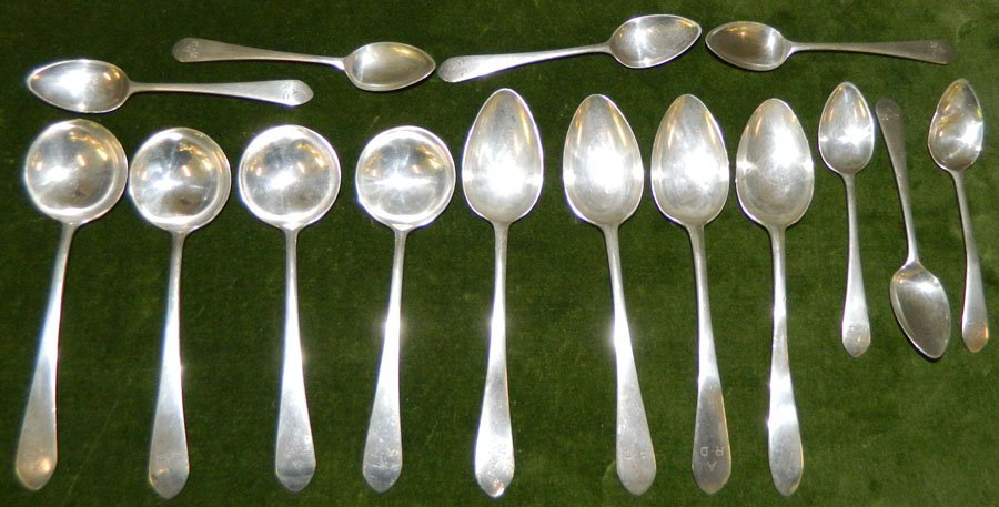 (15) Sterling spoons. 9.69 troy oz