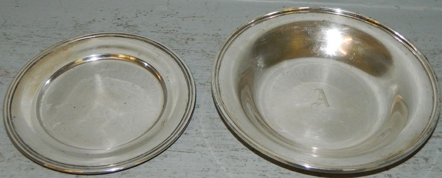 Sterling nut bowl and sterling bread plate. 9.43 to