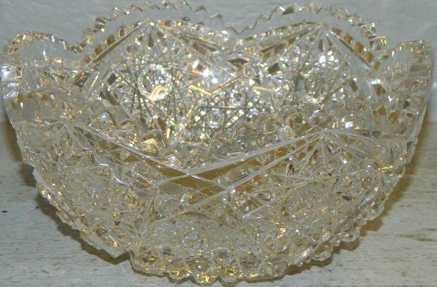 "Cut glass bowl. 8"" diameter."