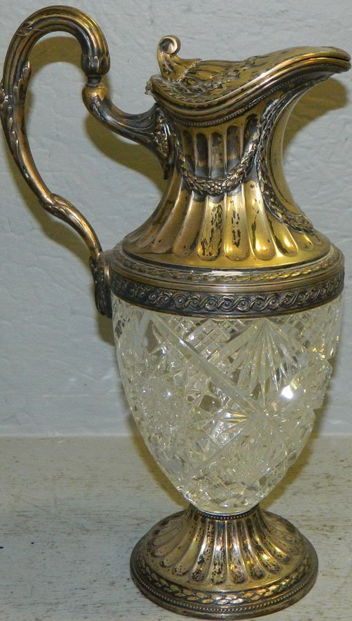 Cut glass wine carafe w/ 800 silver base, signed