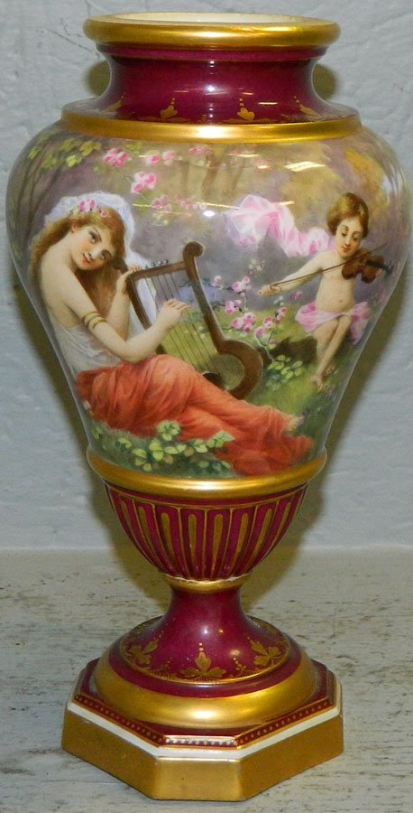 """Hand painted Dresden portrait vase. 9 1/4"""" tall."""
