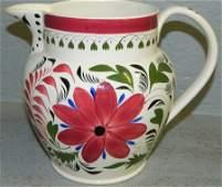 19th C English Gaudy Dutch water pitcher.