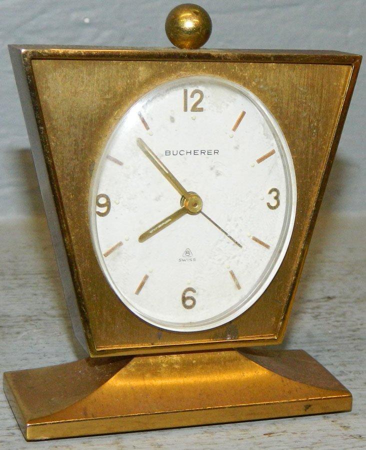 Swiss miniature brass clock, Bucherer.