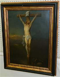 19th Century oil on canvas of crucifixion.