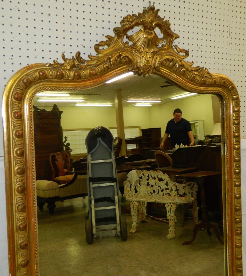 Large French mirror in Victorian gold leaf frame. - 2