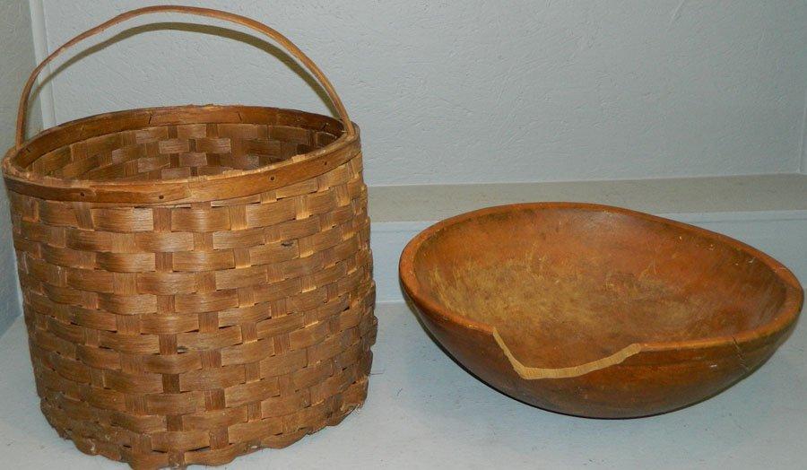 Split oak cotton basket & wooden dough bowl.
