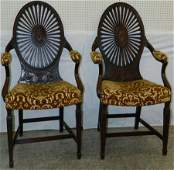 Rare pair of Adam's style Adelphi arm chairs.