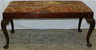 QA mahogany needlepoint window bench