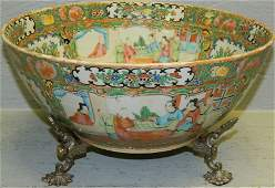 19th C Rose Medallion punch bowl w/sp stand.