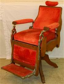 19th c oak barber chair labeled H. Pauk & Sons