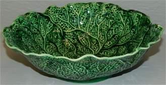 Signed Shorter Majolica cabbage leaf bowl 9 dia