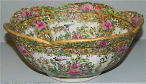 "Rose Mandarin tulip edged bowl.10"" d x 4 1/2"" h."