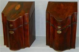 (2) 18th c. mah inlaid knife boxes w/ inserts.