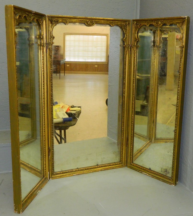 3 Panel French Gold Leaf  Dress.Mirror