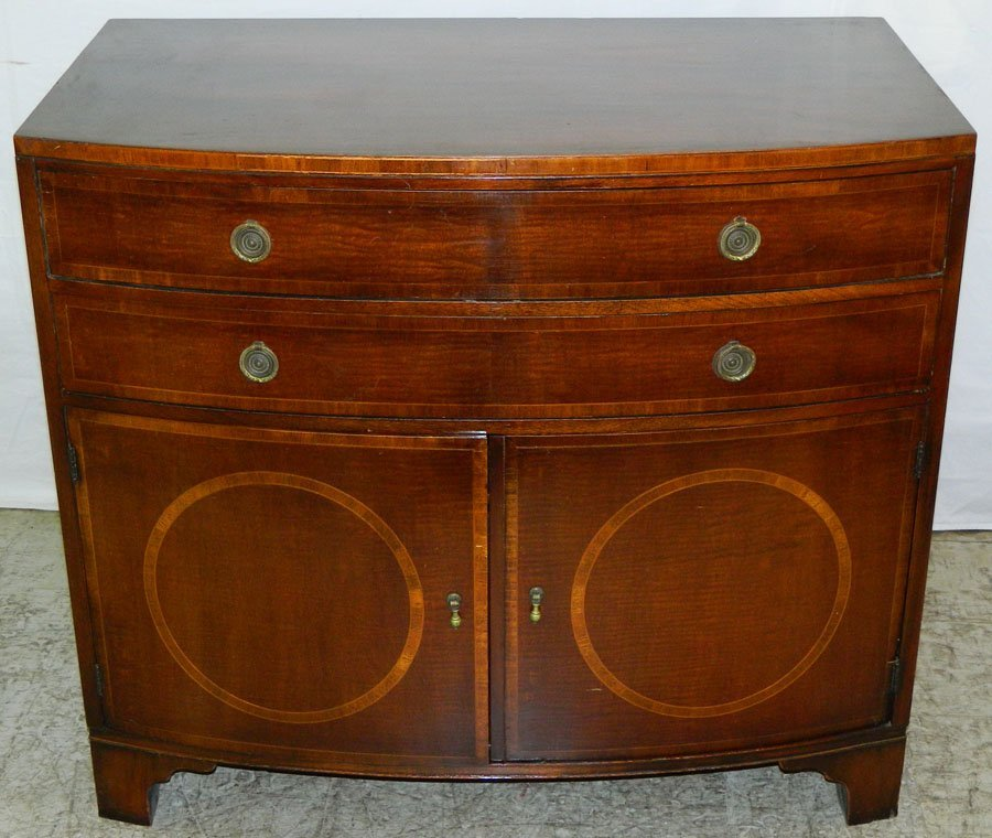 Mahog. Bowfront Chest with cabinet