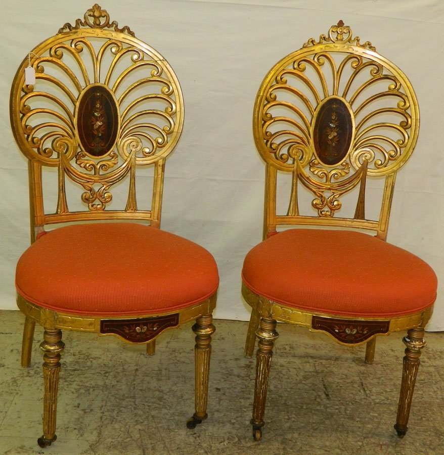 Pr. French Gold Leaf Chairs