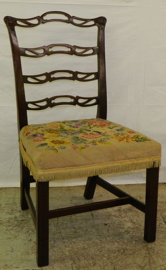 18th c. ladder back Chippendale chair.