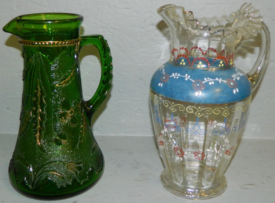 Decorated Enamel Pitcher & Green Pitcher.