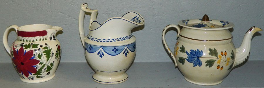 Early soft paste Teapot & 2 pitchers