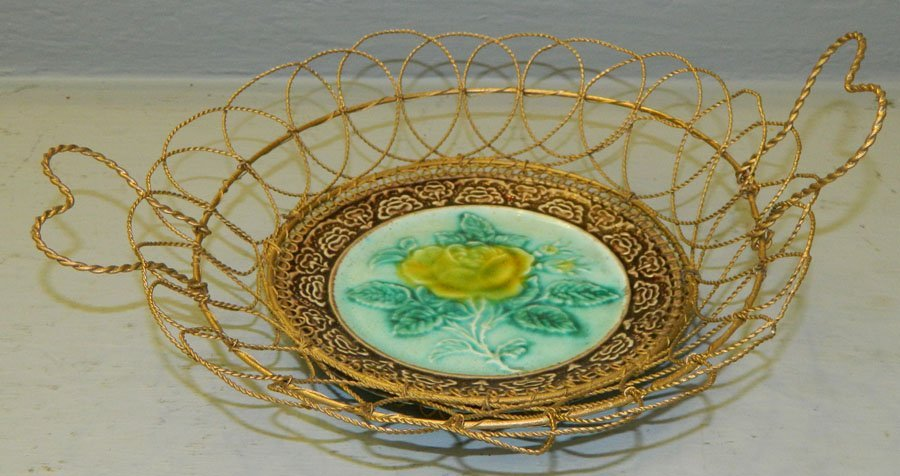 Majolica Dish mounted in wire mesh