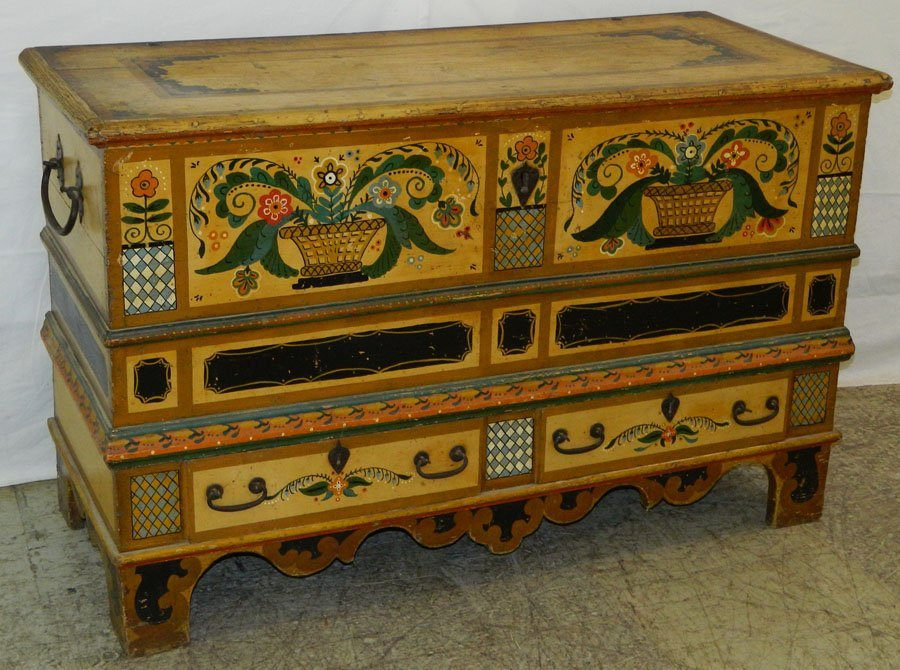 Continental Dower Chest w/ Vibrant paint.