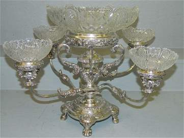 Sheffield plate & cut glass epergne