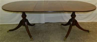 2 pedestal mahog. banded top dining table