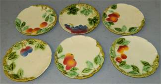 6 early Majolica fruit and leaf plates signed