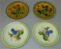 2 pairs signed Majolica plates