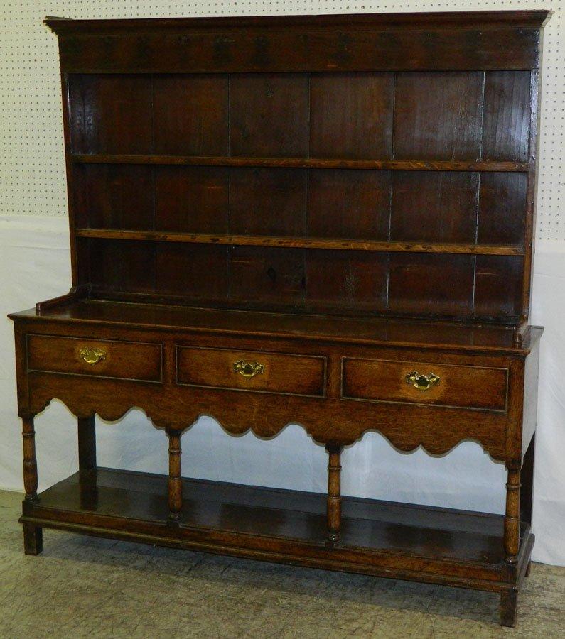 18th c. Eng. oak pewter cabinet/Welsh dresser