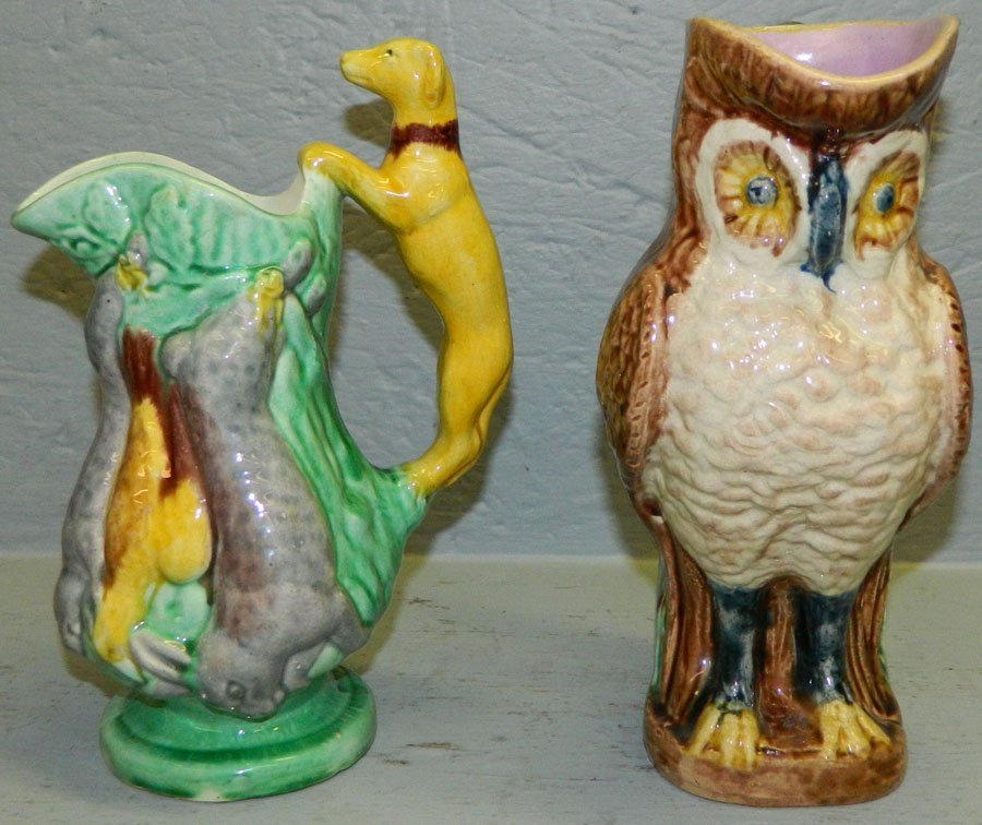 Majolica owl pitcher & game pitcher. - 2