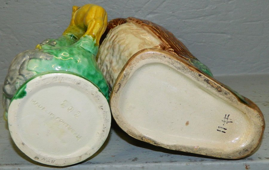 Majolica owl pitcher & game pitcher. - 3