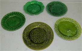 Set  5 green Wedgwood Majolica leaf plates