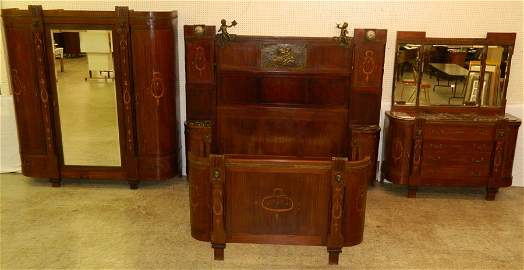 3 pc Italian inlaid bedroom suite w/bronze mounts