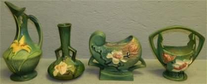 4 pcs Roseville pottery  Magnolia  Zephyr Lily