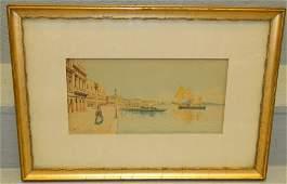 Venetian scene watercolor. Signed lower left.