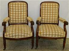 Pair of 19th C French cherry arm chairs