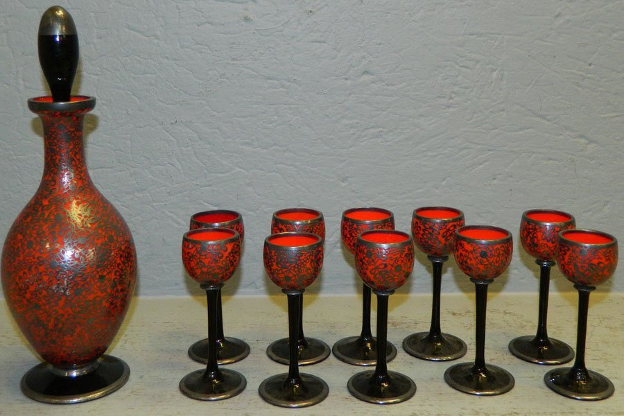 11 pc Red with pewter overlay taster set