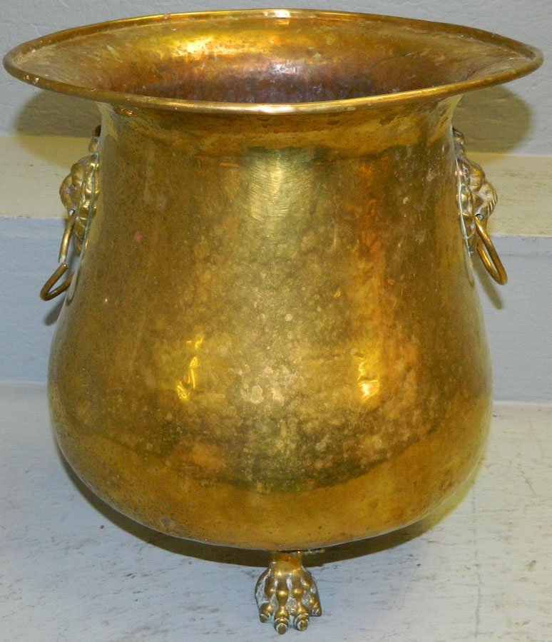 Large Brass footed jardiniere