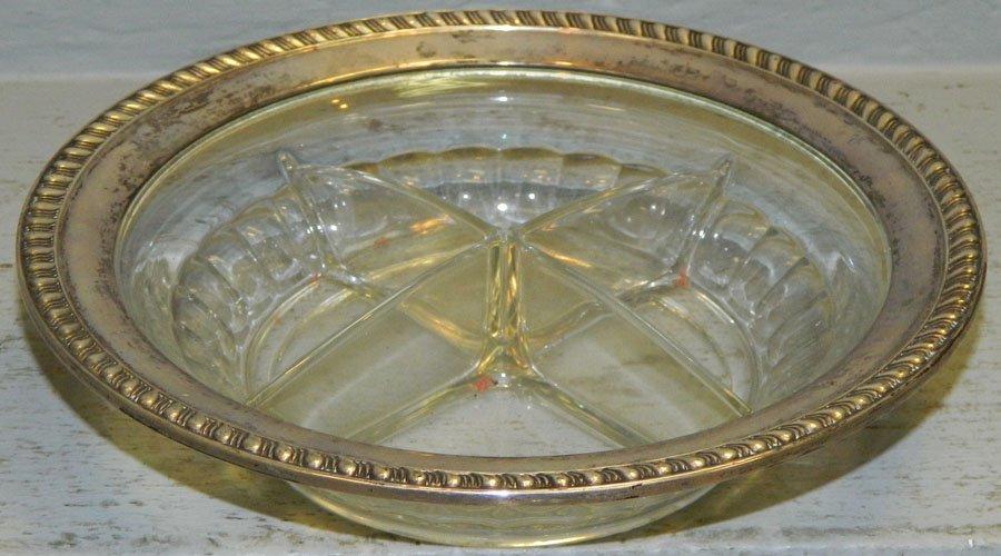 Sterling rimmed divided glass bowl