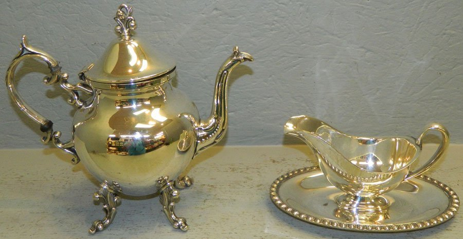 Silver plated coffee pot; silver plated gravy boat