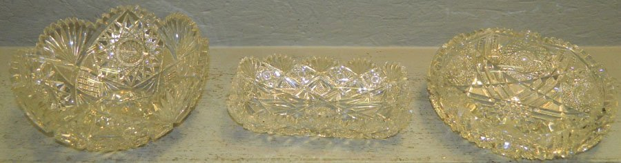 2 cut glass bowls and small cut glass dish