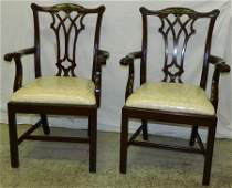 Pair cherry Chippendale straight leg arm chairs