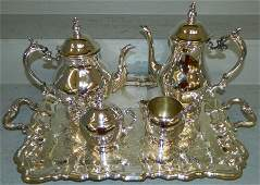 5 pc. Silver plated tea set w/tray