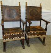 Pair of 19th C Italian leather arm chairs 51 tall