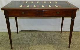 Continental game table w/ tooled leather top.
